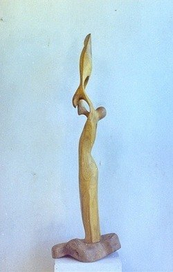 Dhyaneswar Dausoa; Cosmic Connection, 2007, Original Sculpture Wood, 30 x 120 cm. Artwork description: 241  vertical stylised form with lines and movements rising high so as to give the impression of joining the cosmic power ...