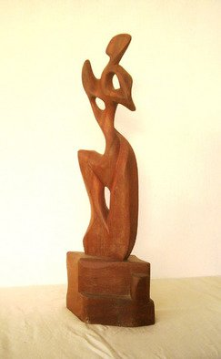 Dhyaneswar Dausoa; Quest, 2007, Original Sculpture Wood, 18 x 45 cm. Artwork description: 241  semi- figurative stylised work in wood representating quest ...