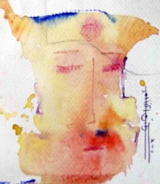 Omar Ibrahim; Face, 2009, Original Watercolor, 7 x 5 cm. Artwork description: 241  face to know . . . face to dream . . . face to tell you story that you know. . . but you hear it again just to symbithy ...