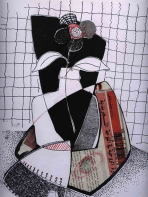 Omar Ibrahim; Bottel, 2009, Original Artistic Book, 29 x 40 cm. Artwork description: 241  To drink the glass of black and white and flay over the imagination  ...