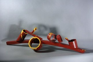 Diana Carey; Migraine, 2017, Original Sculpture Steel, 24.5 x 6.5 inches. Artwork description: 241 Tabletop steel sculpture, red with yellow...