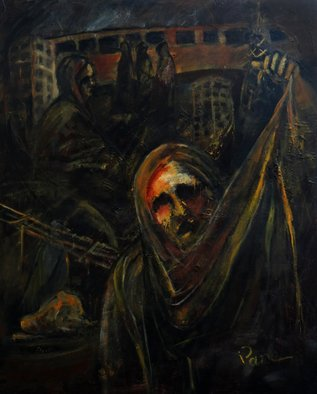 Diane Emami; Protest, 2011, Original Painting Acrylic, 31 x 38 inches. Artwork description: 241    women, cooking, women challenge, dark colors, brown, dramatic, expressionism, Islam, revelation,    ...