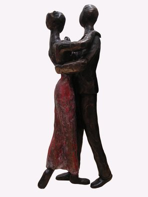 Didi Petri; Tango, 2008, Original Sculpture Bronze, 9 x 25 inches. Artwork description: 241  Dancing with passion ...