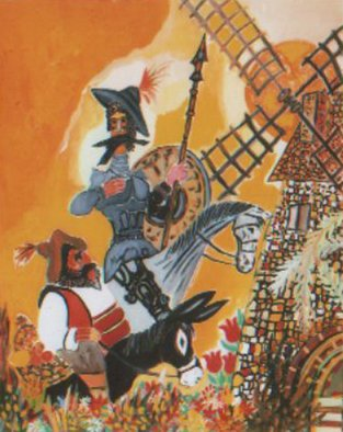 Dilyan Dochev; Don Quixote , 2008, Original Painting Oil, 40 x 50 cm. Artwork description: 241      comedians, music, Dilyan Dochev, DiL, art, original       ...