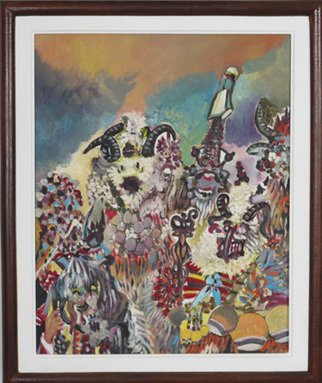 Dilyan Dochev; Mummery  1, 2009, Original Painting Oil, 50 x 40 cm. Artwork description: 241    clowns, music, Dilyan Dochev, DiL, art, original                ...
