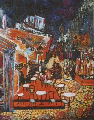 Dilyan Dochev; Night Coffee, 2008, Original Painting Oil, 40 x 50 cm. Artwork description: 241     comedians, music, Dilyan Dochev, DiL, art, original      ...