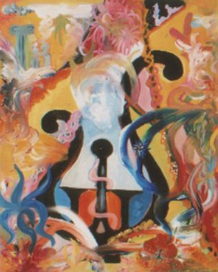 Dilyan Dochev; The Lyre, 2008, Original Painting Oil, 50 x 40 cm. Artwork description: 241    surrealism, music, Dilyan Dochev, DiL, art, original          ...