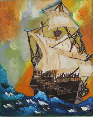 Dilyan Dochev; The Ship, 2009, Original Painting Oil, 50 x 40 cm. Artwork description: 241   sailing, music, Dilyan Dochev, DiL, art, original                  ...