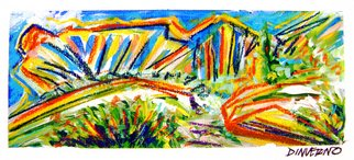 James Dinverno; Chumash Trail, 2009, Original Mixed Media, 36 x 18 inches. Artwork description: 241  Mixed Media Artwork offered as a Signed Limited Edition ( 150) Giclee Canvas Print. Varnish finish is applied to each print, insuring color brilliance. Accompanying Certificate of Authenticity is hand signed and numbered by the artist, unframed. ...