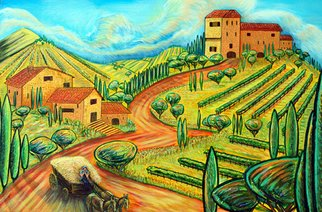 James Dinverno; Raccolto, 2010, Original Painting Acrylic, 30 x 18 inches. Artwork description: 241  Tuscan, Landscape, Cypress, Italy, Countryside, Yellow, Orange,  ...