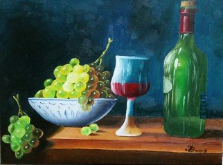 Igor Benner; Wine Bottle And Grapes, 2015, Original Painting Oil,   inches. Artwork description: 241  Oil- painting  ...