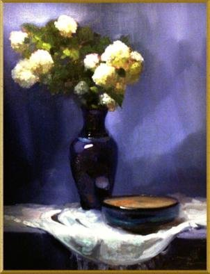 Diana K. Gibson; Hydrangea And Blue, 2005, Original Painting Oil, 20 x 24 inches.