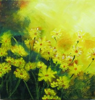 Debra Knecht; Sunlit Daisies, 2014, Original Painting Acrylic, 16 x 16 inches. Artwork description: 241  Daisies, Yellow, Green, Sunlight  ...