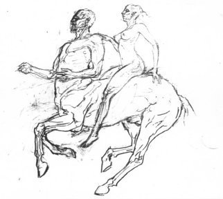 Dimitri Lazaroff; Centaur, 2006, Original Drawing Other, 10 x 10 inches. Artwork description: 241  A study for a larger drawing. ...