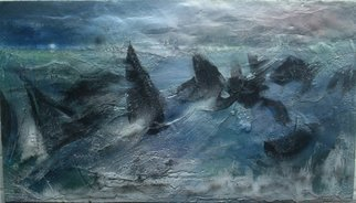 Dimitri Lazaroff; Shipwreck, 2010, Original Painting Other, 28 x 16 inches. Artwork description: 241 sea, ocean, waves, water, shipwreck, disaster, storm, tsunami, sunset, rain, fog...