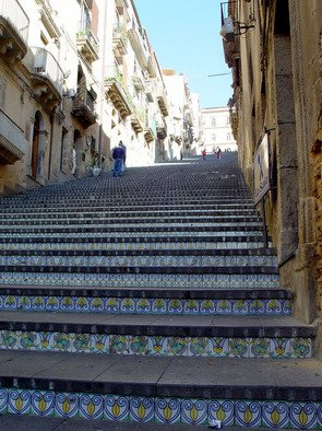 David Bechtol; At the top of the stairs, 2002, Original Photography Color, 14 x 11 inches. Artwork description: 241  Mosiac- covered stairs leading to church at Caltagirone, Sicily ...