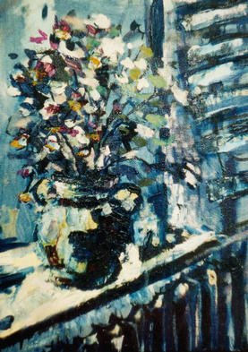 Dmitry Onishenko; Flowers On The Window, 2002, Original Painting Oil, 23 x 34 cm. Artwork description: 241 an expressive still life...