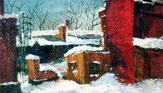 Dmitry Onishenko; Red House, 2002, Original Painting Oil, 75 x 55 cm. Artwork description: 241 Picture of a local Siberian urban view...