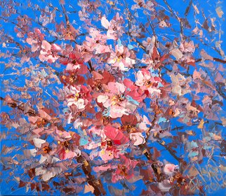 Dmitry Kustanovich; Sakura, 2019, Original Painting Oil, 60 x 70 cm. Artwork description: 241 Painting, Oil, Figurative Art, Impressionism, Realism, Contemporary painting, Still life, Flower, sakura, NDdegDoNfNEURDdeg, buy art, NEURNfNNDoD,D1 NNfD'D3/4DP D1/2D,Do, dmitry kustanovich, russian art, russian contemporary art, palette knife painting...