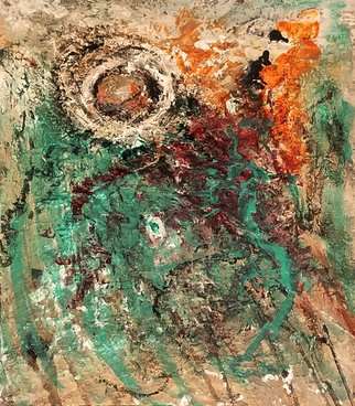 Dolf Derovira; Orb, 2018, Original Painting Acrylic, 11 x 14 inches. Artwork description: 241 Highly textured turquoise orange and white orb on canvas board...