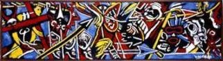 Domingo Garcia; Batalla De Yaguecas, 1962, Original Painting Oil, 30 x 150 feet. Artwork description: 241 Wood frame designed by the artist. Yaguecas Battle was created as a study for a mural. ...