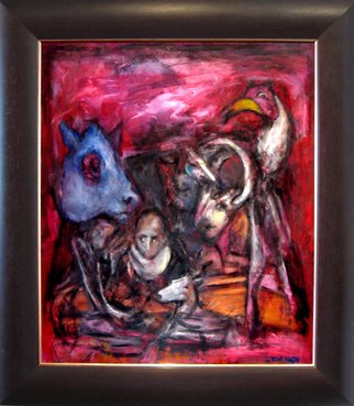 Domingo Garcia; Entre Nous, 2010, Original Painting Oil, 40 x 50 inches. Artwork description: 241  Oil on masonite. Summation of various art movements. The frame has been designed by the artist.   ...