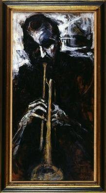 Domingo Garcia; The Trumpet Player, 1960, Original Painting Oil, 40 x 24 feet. Artwork description: 241  Collection: Museo de Arte de Ponce, Puerto Rico ...