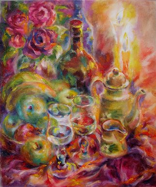 Taly Berestov; Wits Candles, 2009, Original Painting Oil, 50 x 60 cm. Artwork description: 241  Romantic evening wits wine,candles, roses and candles ...