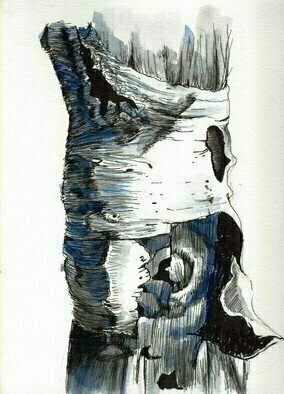 Donna Gallant; bark, 2017, Original Drawing Ink, 9 x 12 inches. Artwork description: 241 A close up drawing of tree bark using ink and watercolor on paper resembling the texture on a tree bark. ...