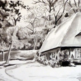 Donna Gallant, , , Original Drawing Charcoal, size_width{cottage-1519748115.jpg} X 9 inches
