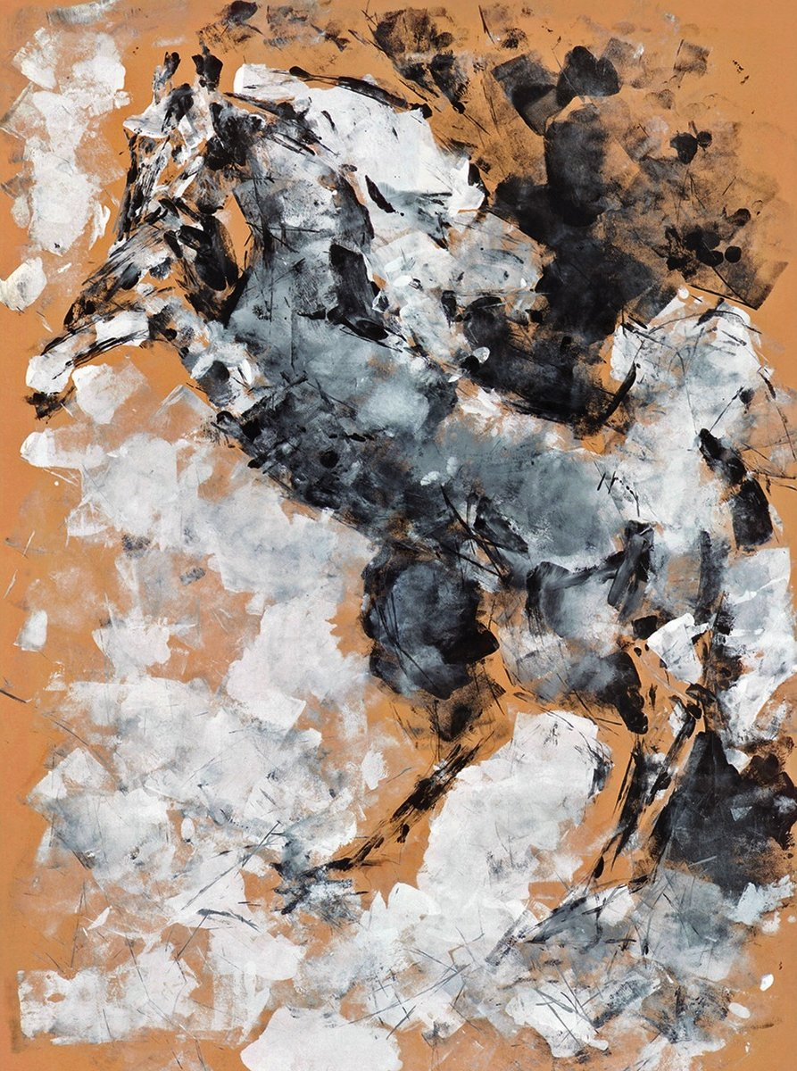 Donna Bernstein; Storm King, 2009, Original Mixed Media, 24 x 36 inches. Artwork description: 241  Designer, equine, urban, contemporary, Abstract, Expressionist, modern.Signed, Numbered Limited Edition Giclee Print.  Original in private collection. ...