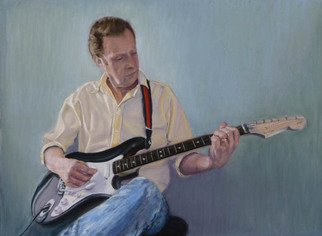 Donna Gibbs; Practice, Practice, Practice, 2011, Original Pastel, 12 x 16 inches. Artwork description: 241  Pastel on sanded paper portrait of Brian with his beloved Fender guitar ...