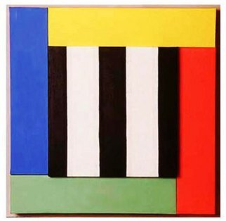Jerry Reynolds; Primary Eveloution, 1988, Original Painting Acrylic, 53 x 53 inches. Artwork description: 241  This formalist painting explores the evolution of the idea of primary colors from a black and white beginning to the modernist addition of green. ...