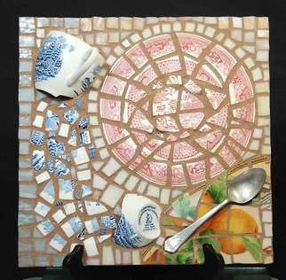 Jerry Reynolds; Tea With Mrs Keeling, 2019, Original Mosaic, 12 x 12 inches. Artwork description: 241 Pique Assiette...