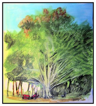 Don Schaeffer; Big Tree At  Kings Park, 2011, Original Pastel Oil, 12.5 x 13 inches. Artwork description: 241  painting from a photograph      ...