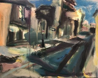 Bob Dornberg; Baltimore, 2020, Original Painting Oil, 20 x 16 inches. Artwork description: 241 STREET WITH ONE WAY SIGN...