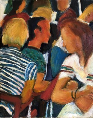 Bob Dornberg; Elbows, 2019, Original Painting Oil, 16 x 20 inches. Artwork description: 241 gATHERED FOR SOCIAL MEETING...