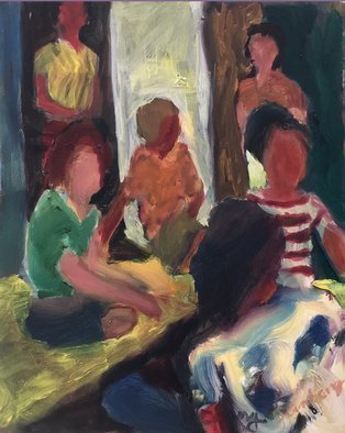 Bob Dornberg; Girl Party, 2020, Original Painting Oil, 16 x 20 inches. Artwork description: 241 GIRLS AT A PARTY...