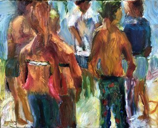 Bob Dornberg; Going Down To The Beach, 2019, Original Painting Oil, 20 x 16 inches. Artwork description: 241 Beach goers ready to descend to the beach...