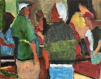 Bob Dornberg; Store Talk, 2020, Original Painting Oil, 20 x 16 inches. Artwork description: 241 guys talk at checkout...