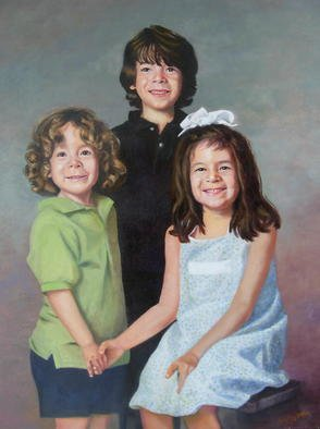 Dorothy Sitka; Portrait Of Three Children, 2008, Original Painting Oil, 30 x 40 inches. Artwork description: 241  Three Children painted forthe mother's birthday ...