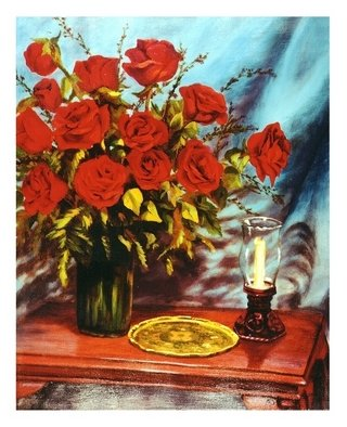Dorothy Sitka; Valentine Roses, 2008, Original Painting Oil, 16 x 20 inches. Artwork description: 241  Painted from Roses sent to me by ny love ...