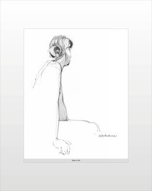 C. Doug Anderson; Study For Seans Girl, 2013, Original Drawing Pen, 11 x 14 inches. Artwork description: 241       High quality archival Glicee prints on Canvas. $125. Female. Figure. Drawing. Original NFS.              ...