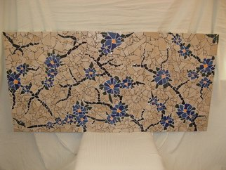 Dragana Argirovic; Stubborn, 2015, Original Ceramics Handbuilt, 48.5 x 24 inches. Artwork description: 241   It represents thirsty, dry, cracked soil, opposite to blue, juicy flowers, because life always finds way! The tiles were created with a hammer only. Very dynamic rotation of bigger and smaller pieces and very dramatic look of black cracks and blue flowers will makes your eyes nailed ...