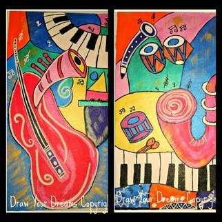 Sneha Joshi; MUSIC SERIES, 2014, Original Painting Acrylic, 22 x 17 inches. Artwork description: 241 Acrylic paints on rolled canvas. Music is the theme  Its has all instruments from Guitar to Piano to Drum. The bright shades with the unique 3 D cone work makes this art piece stand out.This is done on rolled canvas for easy and trouble free transport ...