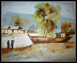 Sneha Joshi; VILLAGE SCENE, 2014, Original Painting Acrylic, 28 x 21 inches. Artwork description: 241 Acrylic Paints on rolled canvas, this painting is one of a kind made exclusively using light colour shades. This is ideal for bright walls. Horizontally placed, this piece basically depicts a fishing village with a boat parked near the river, small mud houses, rough soils, fisher women ...