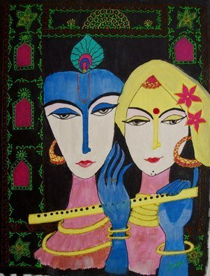 Sneha Joshi; Radha Krishna, 2013, Original Painting Acrylic, 14 x 18 inches. Artwork description: 241 Using Acrylic and 3D tubes on canvas board: Picture depicting Radha Krishna. Krishna is often referred as svayam bhagavan and Radha is Krishna s supreme beloved. With Krishna, Radha is acknowledged as the Supreme Goddess, for it is said that she controlsKrishna with Her love. It ...
