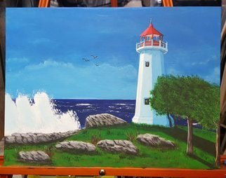 Daniel Rose; Lighthouse, 2017, Original Painting Acrylic, 13 x 9 inches. Artwork description: 241 Painting of a lighthouse on a sunny day. ...