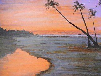 Dr Vijay Prakash; Sunrise At Goa Beach, 2016, Original Painting Acrylic, 17.5 x 19.5 inches. Artwork description: 241   How sweet the morning air is. . Now the red rim of the sun pushes itself over the cloud- bank. How small we feel with our petty ambitions and strivings in the presence of the great elemental forces of Nature. . .  ...