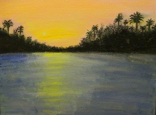 Dr Vijay Prakash; Sunrise At River Suvarna, 2014, Original Painting Acrylic, 15.5 x 19.5 inches. Artwork description: 241  How sweet the morning air is See how that one little cloud floats like a pink feather from some gigantic flamingo. Now the red rim of the sun pushes itself over the cloud- bank. How small we feel with our petty ambitions and strivings in the presence ...